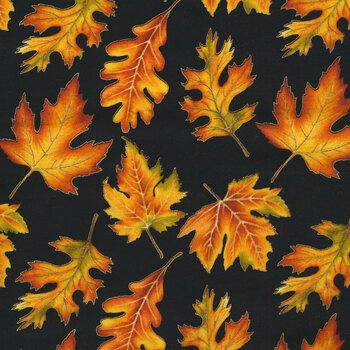 Autumn Elegance 1670M-12 Leaf Allover Black by Benartex