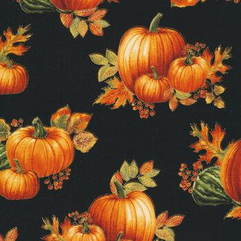 Autumn Elegance 1669M-12 Pumpkin Allover Black by Benartex