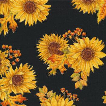 Autumn Elegance 1667M-12 Autumn Sunflower Black by Benartex