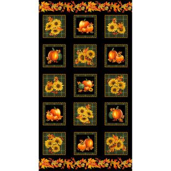 Autumn Elegance 1665M-99 Square Panel Black-Multi by Benartex