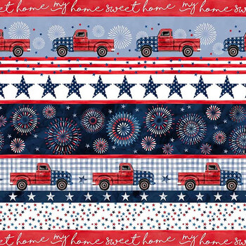 Land That I Love 9701-WHIT-D My Home Sweet Home Stripe by Michael Miller Fabrics