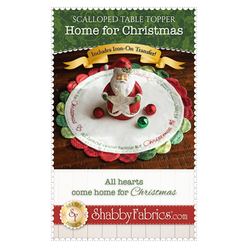 Scalloped Table Topper - Home For Christmas - Pattern & Iron On Transfer