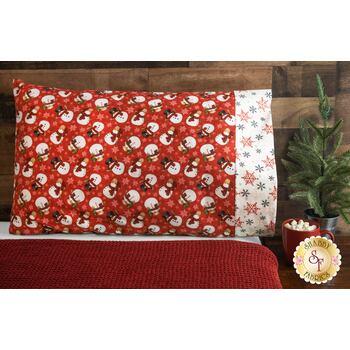 Magic Pillowcase Kit - Flannel Gnomies - Standard Size - Red