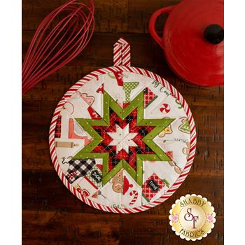 Folded Star Hot Pad Kit - We Whisk You A Merry Christmas - White