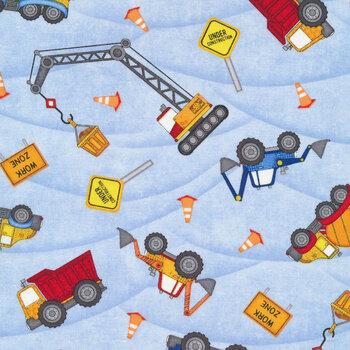 Building Dreams 82641-483 Truck Toss Blue by Wilmington Prints