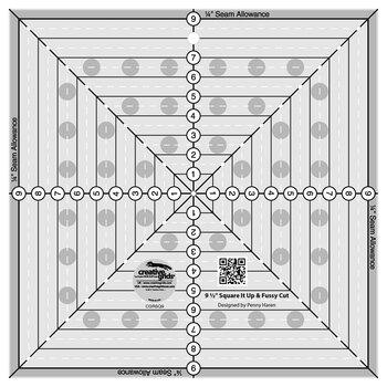 "Creative Grids 9½"" Square It Up & Fussy Cut Ruler #CGRSQ9"