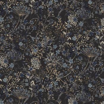 Bluebird of Happiness 2717-95 Meadow Dark Gray by Janet Rae Nesbitt for Henry Glass Fabrics