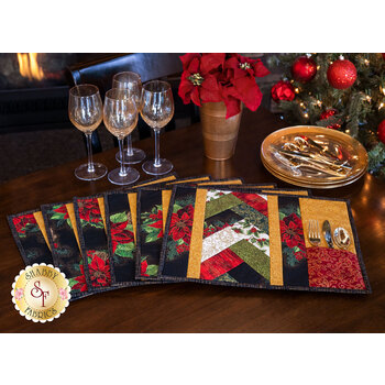 Quilt As You Go Venice Placemats Kit - Holiday Flourish 13 - Makes 6