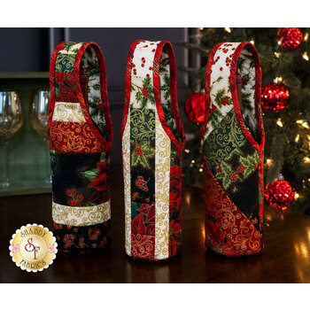 Quilt As You Go Wine Totes Kit - Holiday Flourish 13
