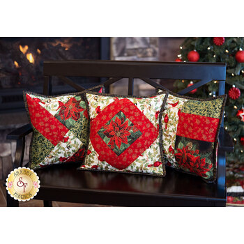 Quilt As You Go Pillow Covers Kit - Holiday Flourish 13