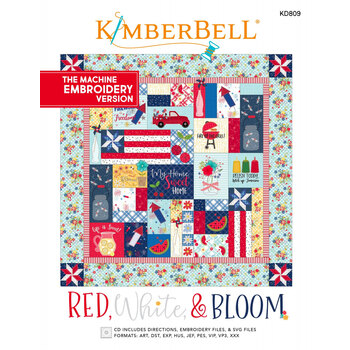 Red, White, & Bloom Quilt Pattern - Machine Embroidery Version
