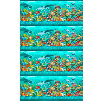 Calypso II 21CAL-2 Border Teal by Jason Yenter for In the Beginning Fabrics