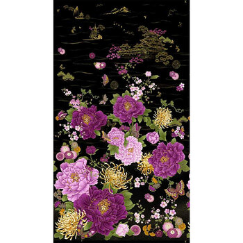 Majestic CM8808-BLACK Japanese Purple Floral Panel by Timeless Treasures