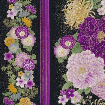 Majestic CM8809-BLACK Japanese Purple Floral 11