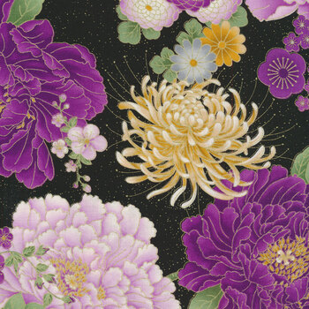 Majestic CM8810-BLACK Japanese Purple Floral Large by Timeless Treasures