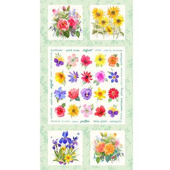 Flower Shop Y3298-109 Light Mint Panel by Clothworks