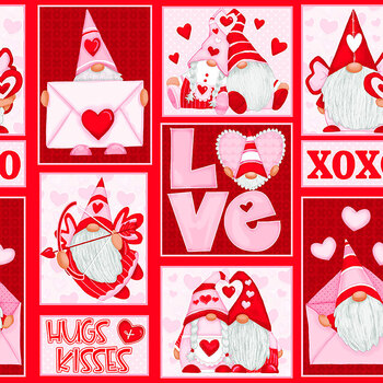 Gnomie Love 9785-28 Red/Pink Gnome Patchwork by Shelly Comiskey for Henry Glass Fabrics