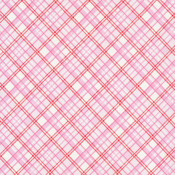 Gnomie Love 9786-22 Pink Bias Plaid by Shelly Comiskey for Henry Glass Fabrics