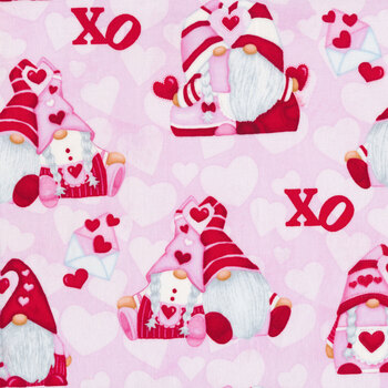 Gnomie Love 9787-22 Pink Hugging Gnomes by Shelly Comiskey for Henry Glass Fabrics