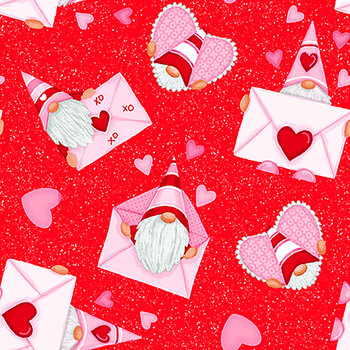 Gnomie Love 9788-88 Red Gnomes and Envelopes by Shelly Comiskey for Henry Glass Fabrics