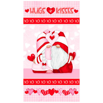 Gnomie Love 9790P-28 Pink/Red Gnome Love Panel by Shelly Comiskey for Henry Glass Fabrics