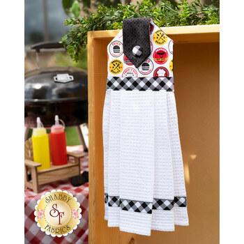 Hanging Towel Kit - Peace, Love & BBQ - White