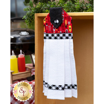Hanging Towel Kit - Peace, Love & BBQ - Red