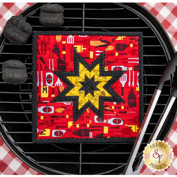 Folded Star Squared Hot Pad Kit - Peace, Love & BBQ - Red