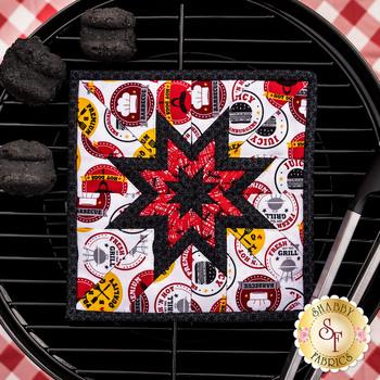 Folded Star Squared Hot Pad Kit - Peace, Love & BBQ - White