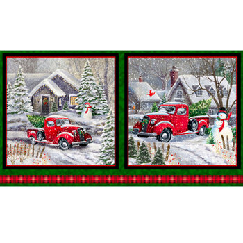 Winter Greetings 28334-F Red Truck Christmas Picture Panel by Quilting Treasures Fabrics