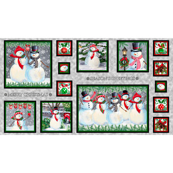 Winter Greetings 28335-K Snowman Picture Panel by Quilting Treasures Fabrics