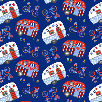 My Happy Place 6038-78 Multi Tossed Campers and Bikes by Sharla Fults for Studio E Fabrics
