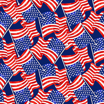 My Happy Place 6042-78 Multi Tossed Flags by Sharla Fults for Studio E Fabrics