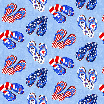 My Happy Place 6045-78 Multi Tossed Flip Flops by Sharla Fults for Studio E Fabrics