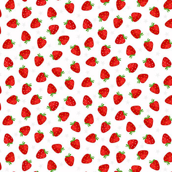 My Happy Place 6047-18 Tossed Strawberries by Sharla Fults for Studio E Fabrics