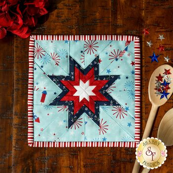 Folded Star Squared Hot Pad Kit - Red, White, & Bloom