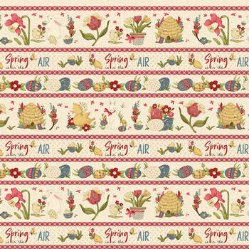 Spring Is In The Air 2789-33 Cream Novelty Border Stripe by Hannah West for Henry Glass Fabrics