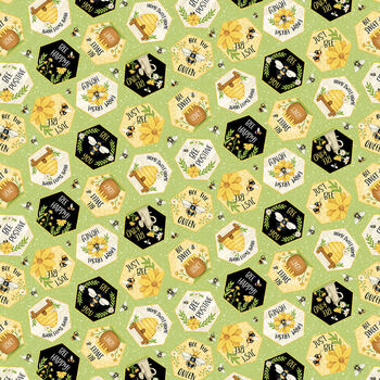 Bee You! 104-66 Green by Shelly Comiskey for Henry Glass Fabrics