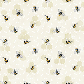 Bee You! 103-40 Cream by Shelly Comiskey for Henry Glass Fabrics