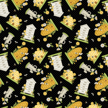 Bee You! 102-99 Black by Shelly Comiskey for Henry Glass Fabrics