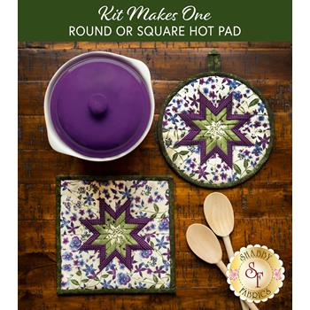 Folded Star Hot Pad Kit - Violet Hill - Round OR Square - Cream