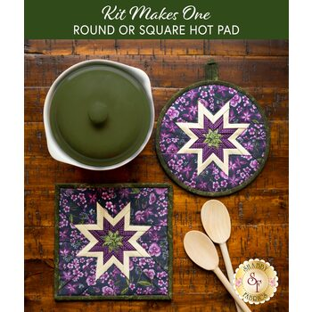 Folded Star Hot Pad Kit - Violet Hill - Round OR Square - Purple