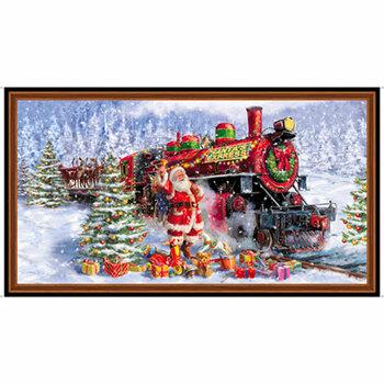 Santa's Night Out 28395-X Santa & Train Panel by Quilting Treasures