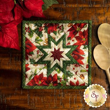 Folded Star Squared Hot Pad Kit - Old Time Christmas - Cream