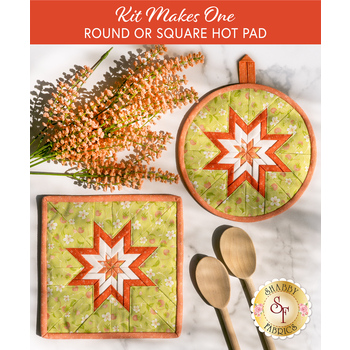 Folded Star Hot Pad Kit - Strawberries & Rhubarb - Round OR Square - Green