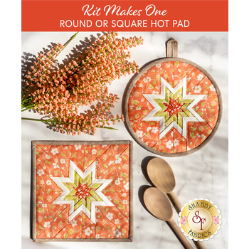Folded Star Hot Pad Kit - Strawberries & Rhubarb - Round OR Square - Orange