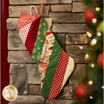 Quilt As You Go Holiday Stocking Kit - Postcard Holiday