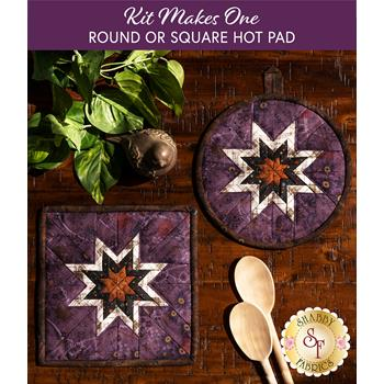 Folded Star Hot Pad Kit - Blessings of Home - Round OR Square - Purple