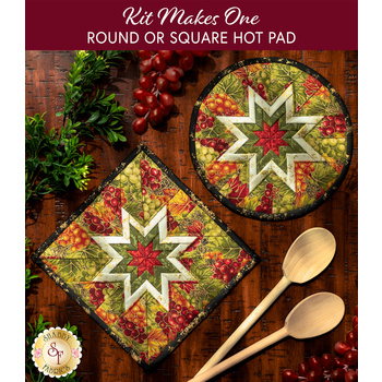 Folded Star Hot Pad Kit- Bounty of the Season - Round OR Square - Grapes