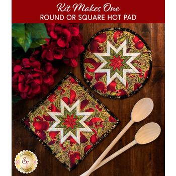 Folded Star Hot Pad Kit- Bounty of the Season - Round OR Square - Pomegranates